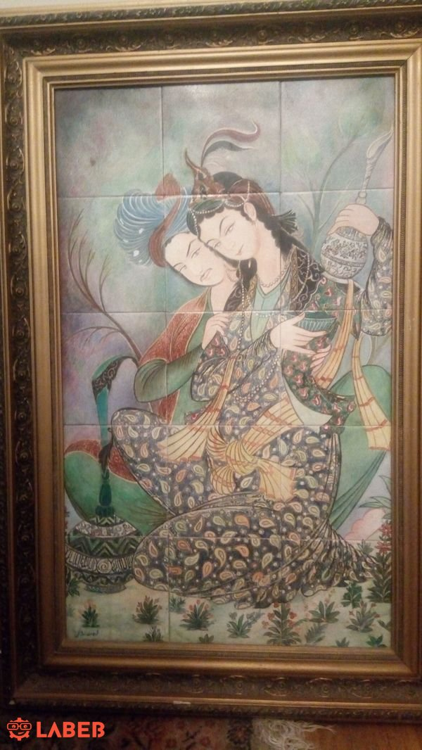 Persian  old painting on ceramic tiles 90 x 60 cm