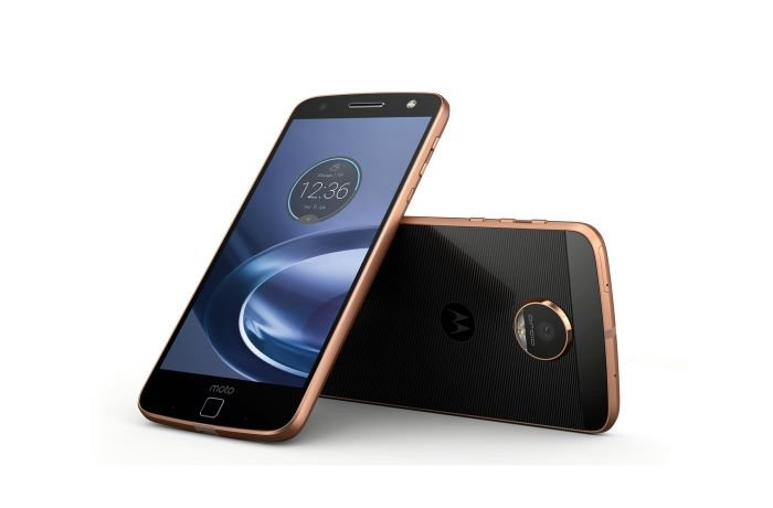 Black Colored Moto Z with a rose gold frame.