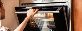Built-in ovens are placed in kitchen cupboards and are powered by electricity.
