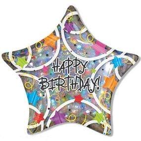בלון מיילר 36- יום הולדת זיקוקים הולוגרפי צורת כוכבhb