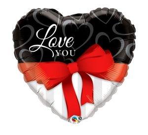 """بالون 36"""" شكل قلب ilove u ربطة حمراء"""