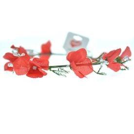 זר יום הולדת לראש עם פרחים-אדום