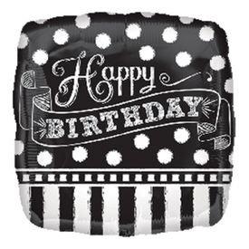 בלון מיילר 18- יום הולדת מרובע שחור לבן