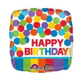 בלון מיילר 18- יום הולדת שמח מרובע נקודות צבעוניות