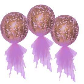 בלון בועה 24 עם מילוי- קונפטי+טול- סגול