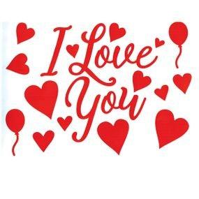ملصقات love للبالونات لون احمر
