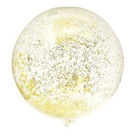 בלון בועה 24 עם מילוי- קונפטי נקודות זהב