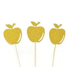 טופר קטן לעוגה תפוח- 12יח- זהב