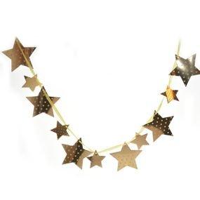 באנר לתלייה- כוכבים זהב עם נקודות ורודות