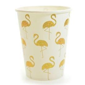 כוסות נייר 300 גר 10 יח- פלמינגו זהב