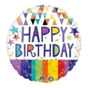 בלון מיילר 18- יום הולדת שמח משולשים פסים כוכבים