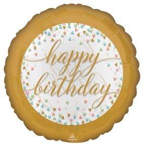 בלון מיילר 18- יום הולדת קונפטי מסגרת זהב פסטל