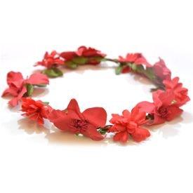 זר לראש עם פרחים בצבע אדום