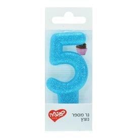 נר ספרה 5 מנצנץ עם מעמד - כחול שמיים