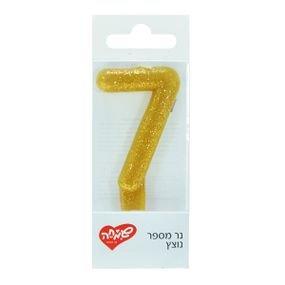 شمع صغير رقم  7 ذهبي
