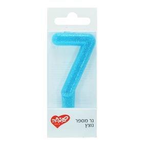 شمع صغير رقم  7 ازرق