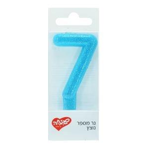 נר ספרה 7 מנצנץ עם מעמד - כחול שמיים