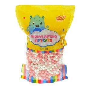 """סוכריות קשות כדורים 1 ק""""ג ורוד לבן"""