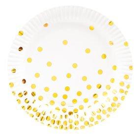 צלחות נייר 23- עגול לבן עם הטבעת זהב נקודות 8 יח