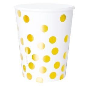 כוסות נייר 6 יח לבן עם הטבעת זהב נקודות