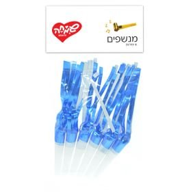 מנשפים עם פרנזים- כחול מטאלי 6 יח