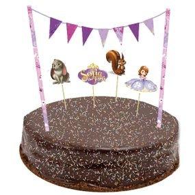 ערכת קישוט לעוגה דגלונים ודמויות-הנסיכה סופיה
