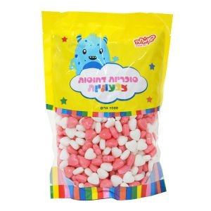 """סוכריות קשות כוכבים 1 ק""""ג ורוד לבן"""