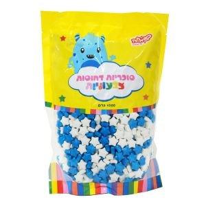 """סוכריות קשות כוכבים 1 ק""""ג מיקס לבן כחול"""