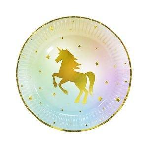 צלחות 20 סמ - 6 יחידות - חד קרן הטבעת זהב