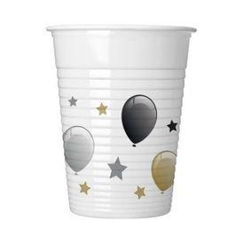 כוסות פלסטיק 200 מל 8 יח - דגם בלונים זהב כסף שחור