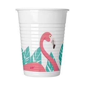 כוסות פלסטיק 200 מל 8 יח- דגם פלמינגו