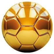 צלחות נייר 23 סמ עגולות 8 יח - דגם כדורגל זהב מטאלי