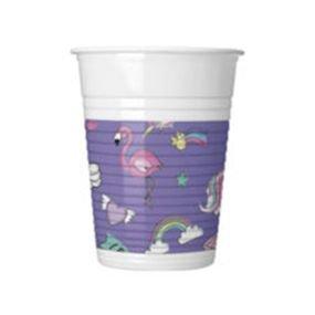 כוסות פלסטיק 200 מל 8 יח מטאלי מיני חד קרן
