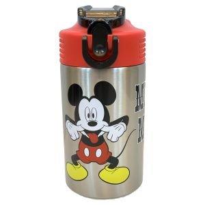 مطرة ماء المنيوم 450 مل مع قش للطي ميكي ماوس