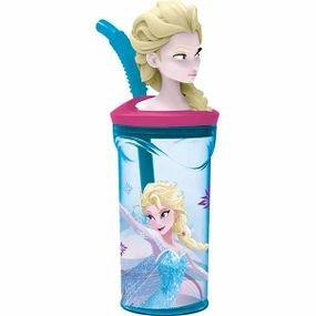כוס דמות 3dעם קש פרוזן - אקווה אירידסנט 360 מל