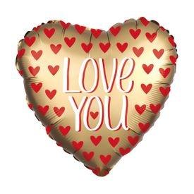 בלון מיילר 28- לב זהב לבבות אדומיםlove you
