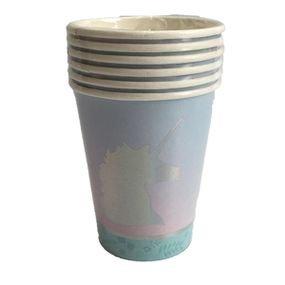 כוסות נייר oz - חד קרן פסטל עם הטבעה 6 יח'