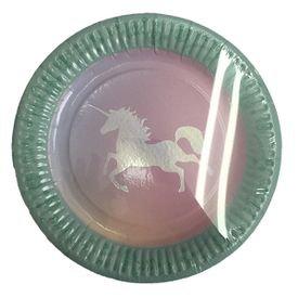 צלחות עגולות 20 סמ -חד קרן פסטל עם הטבעה - 6 יח