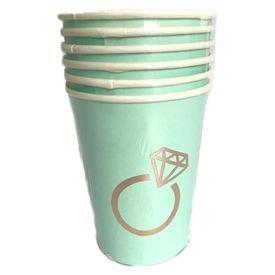 כוסות נייר 6 יח תכלת עם הטבעת רוז גולד