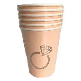 כוסות נייר 6 יח ורוד עם הטבעת רוז גולד