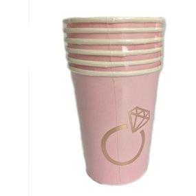 כוסות נייר 6 יח לילך עם הטבעת רוז גולד