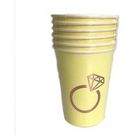 כוסות נייר 6 יח צהוב עם הטבעת רוז גולד