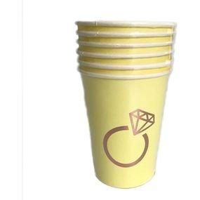 كاسات ورقيه 6 قطع اصفر مع طباعه روز جولد