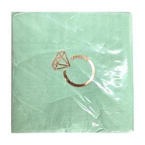 מפיות נייר 33x33סמ 2 שכ תכלת עם הטבעת רוז גולד