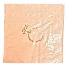 מפיות נייר 33x33סמ 2 שכ ורוד עם הטבעת רוז גולד