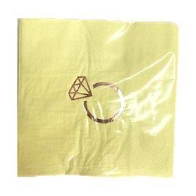 מפיות נייר 33x33סמ 2 שכ צהוב עם הטבעת רוז גולד