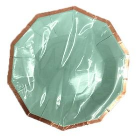 צלחות נייר 20- משושה תכלת עם הטבעת רוז גולד- 6 יח
