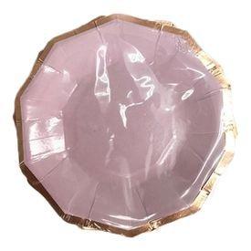 צלחות נייר 20- משושה לילך עם הטבעת רוז גולד- 6 יח