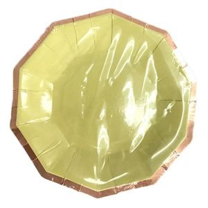 צלחות נייר 20- משושה צהוב עם הטבעת רוז גולד- 6 יח