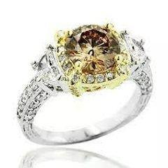 خاتم الخطوبة الماسي بلون الشمبانيا الفريد من نوعه 2.5 قيراط من الذهب عيار 18 قيراطًا